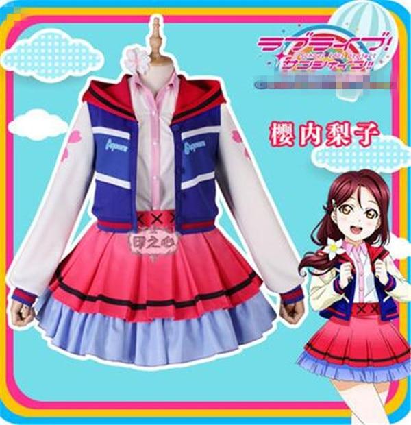 LoveLive Sunshine Next SPARKLING Over the Anime Cosplay Costume Riko Sakurauchi Shirt Skirt Coat lovely full
