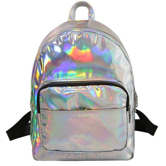 0bccc0c96bc8 Женщины Рюкзак Голограмма лазерная рюкзаки для девочек школьная сумка  женский простой серебряные сумки кожа голографическая sac