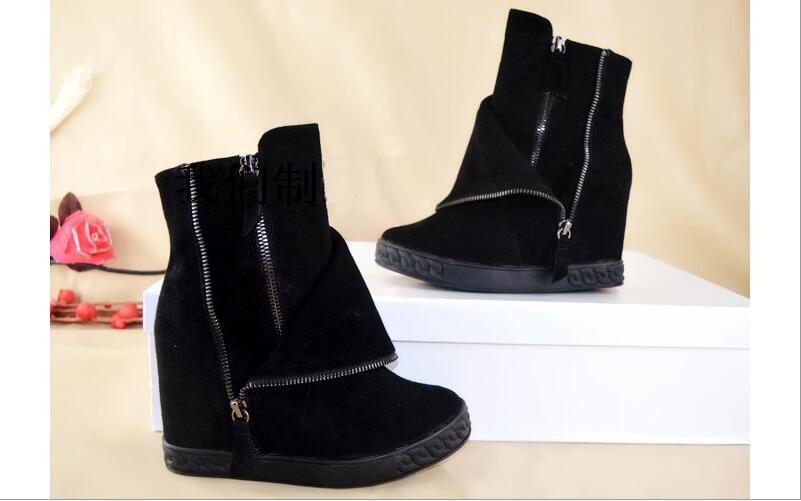 2017 New Style Ankle Boots Pointed Toe Height Increasing Fashion Women Shoes High Quality Double Zipper Black Winter women Boots egonery ankle boots 2017 height increasing star metal decoration women side zipper round toe fashion breathable winter shoes