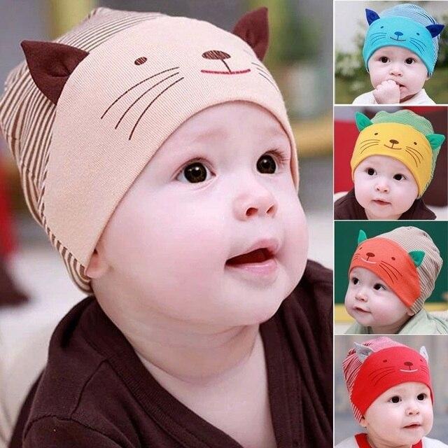 78edbbf0e Moda nueva adorable bebé niño niña beanie rayado algodón gorra gato bebé  sombrero recién nacido accesorios
