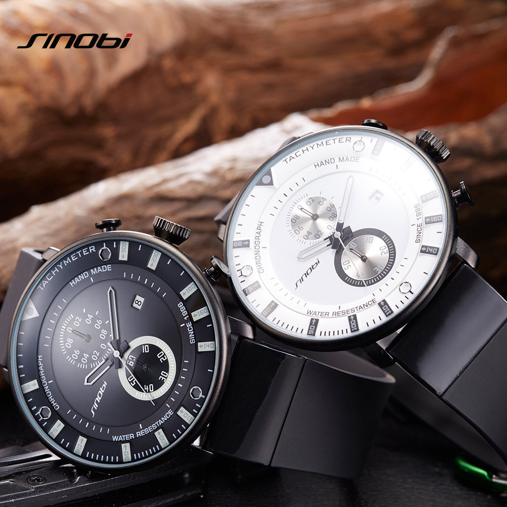 SINOBI Mens Watches Chronograph Top Brand Luxury Ultra Thin Big Dial Clock Waterproof Rubber Sports Man Quartz Wristwatch Clock in Quartz Watches from Watches