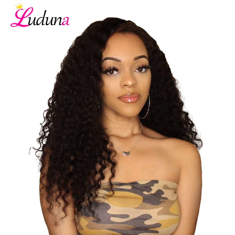Luduna Lace Front Human Hair Wigs Pre Plucked Water Wave Human Hair Wigs With Baby Hair