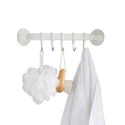 منشفة مطبخ شماعات غير قابل للصدأ علاقة لاصقة مفرغة للماء الحمام منشفة رف مع 5 الفولاذ المقاوم للصدأ السنانير
