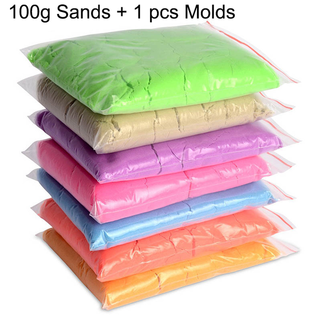 100 g/bolsa 1 arena cinética dinámica de arcilla molde de arcilla increíble diy cubierta de juego de arena niños juguetes educativos 8 colores