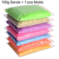 100g/bag+1 Mold Kinetic Clay Dynamic Sand Clay Amazing DIY Indoor Magic Playing Sand Children Educational Toys 8 Colours