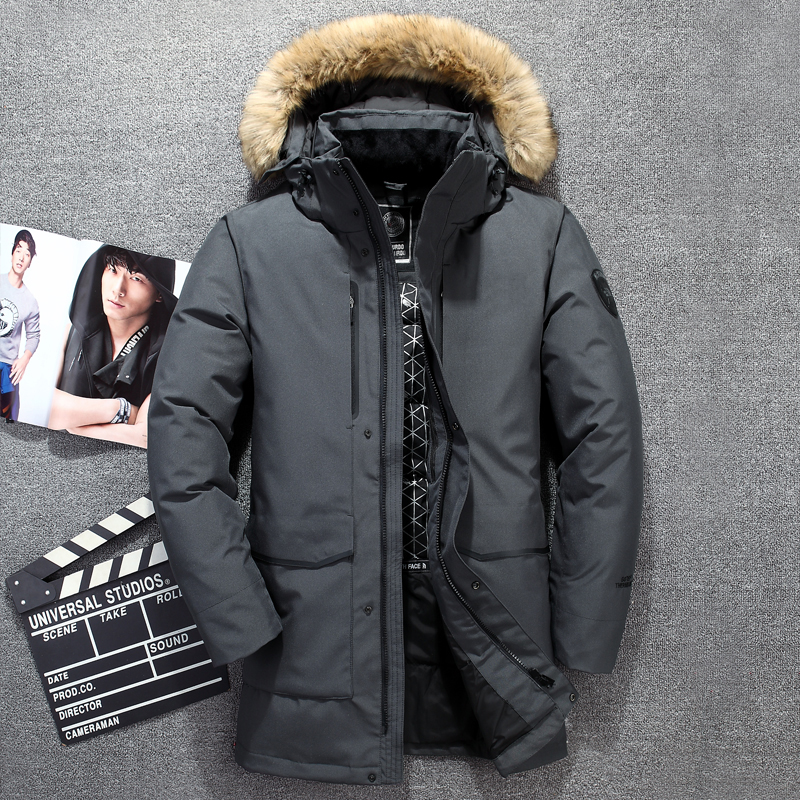 2018 New fur collar men's   down   jacket long   coat   hat detachable wind breaker thick men's winter jackets casual   down     coat   men
