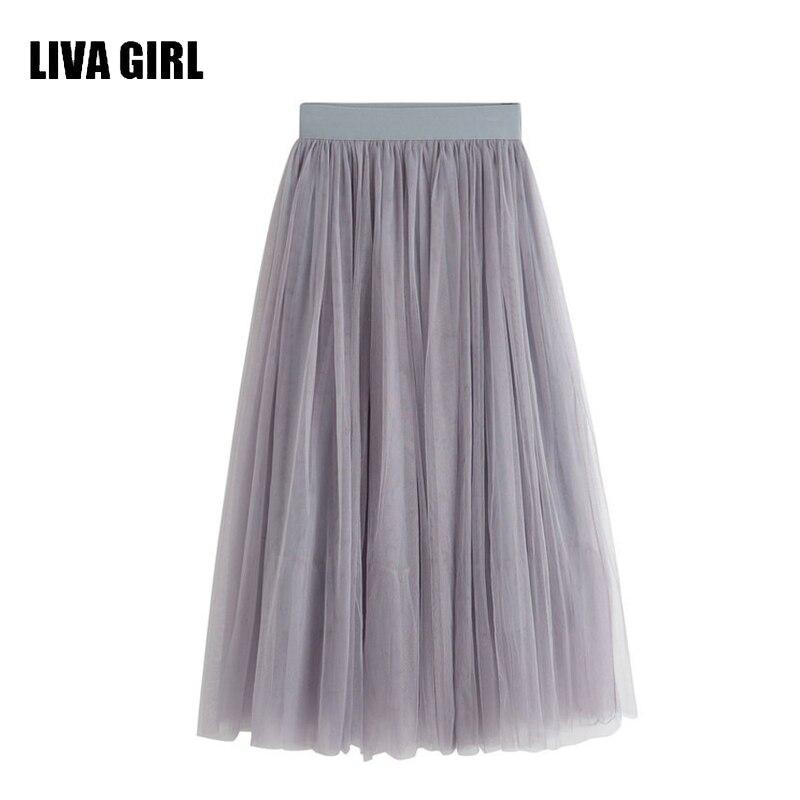 80713d958d LIVA Girl 2017 nueva verano tulle Faldas mujer negro gris blanco adulto  tulle falda elástica de alta cintura Falda midi plisada s01