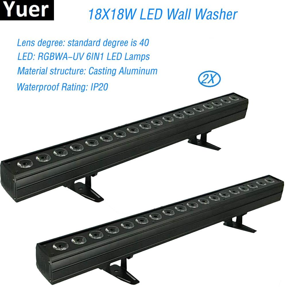 2 RGBWA-UV 6IN1 pçs/lote 18x18 W Não-Impermeável LED Da Arruela Da Parede Lâmpada de Iluminação De Palco Controle Remoto Sem Fio canais DMX DJ Luzes