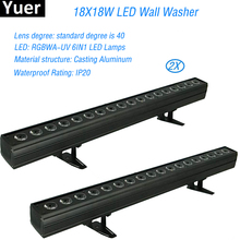 2Pcs/Lot 18x18W Non-Waterproof RGBWA-UV 6IN1 LED Wall Washer Wireless Remote Control Stage Lighting Lamp DJ DMX Channels Lights 4pcs lot 3d led naked eye honeycomb light dance floor dmx sd remote control stage lighting