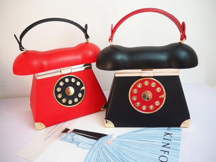 Drôle personnalité mode téléphone forme dames Pu cuir sac à main chaîne sac à bandoulière rabat bandoulière Messenger sac sacs de soirée