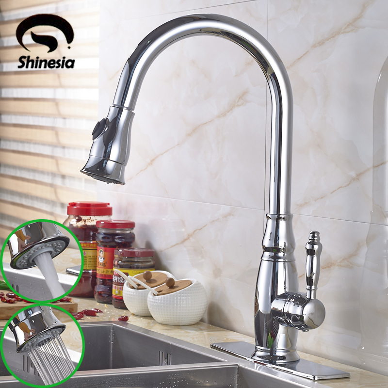 Chrome Polished Solid Brass Kitchen Sink Faucet Single Handle Pull Out Mixer Tap with 10 Cover Plate polished chrome deck mounted bathroom kitchen faucet tap single handle with brass soap dispenser