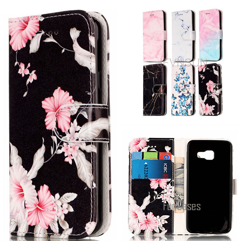 For Samsung Galaxy A3 A5 2016 Case For Samsung A5 A3 2016 A310 A510 Case Marble Flower Pattern Stand Wallet Leather Flip Cover