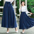 Saia faldas saia longa 2017 mulheres primavera outono estilo Chinês étnico elegante long dark blue lace-up saia sólida longuette
