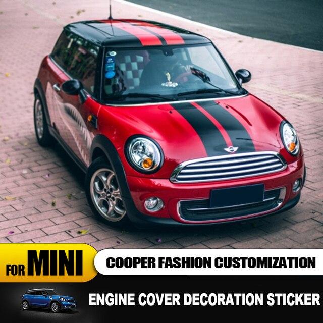 Крышка двигателя + линия крышки багажника автомобильные наклейки и наклейки автостайлинг для Mini Cooper Clubman F55 F56 наклейка декоративные аксессуары