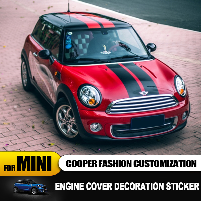 Engine cover+Trunk cover Line Car Stickers And Decals Car styling For Mini Cooper Clubman F55 F56 Sticker decoration Accessories-in Car Stickers from Automobiles & Motorcycles