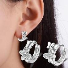Серьги кольца из серебра 925 пробы с двойной бабочкой и цирконом