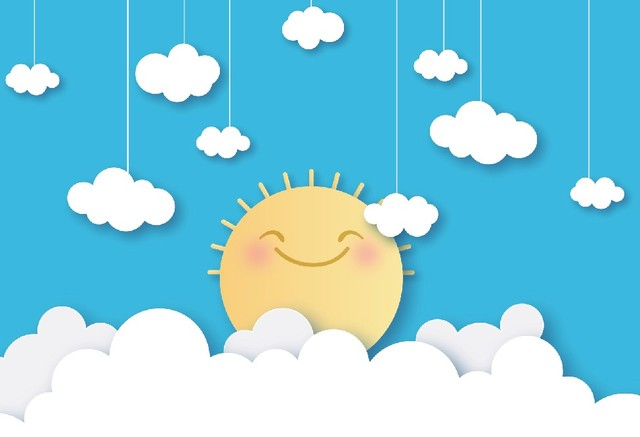 Laeacco Baby Cartoon Cloud Sun Birthday Party Baby Shower Wallpaper Poster Photo Backgrounds Photography Backdrops Photo Studio