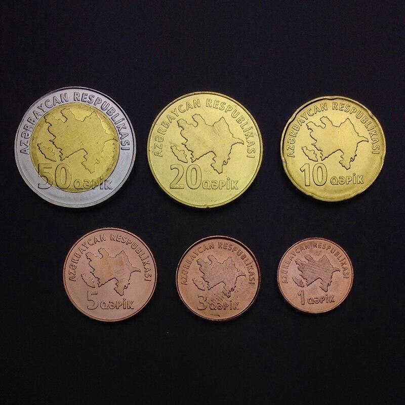 Azerbaijan Set 6 Coins A-1 1 3 5 10 20 50 Qapik UNC
