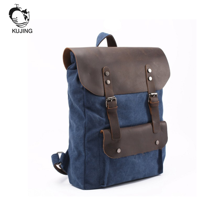 KUJING Leather Backpack High-grade Retro Canvas Large Capacity Student Bags Hot Cheap Retro Leather Travel Casual Youth Backpack kujing backpack high quality jig wear wear denim large capacity student bag free shipping retro travel multi purpose backpack