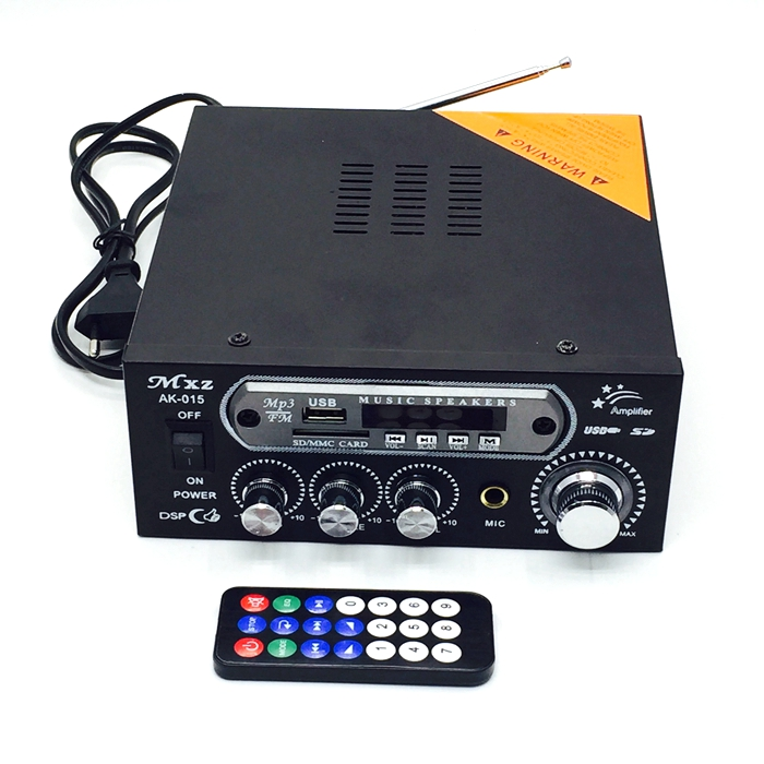 High-power card  USB Power broadcast  audio amplifier USB or SD card Power amplifier  with Power supply and audio cable 2017 new music hall integrated hifi high power digital amplifier u disk sd card pc usb bluetooth 4 0 free shipping