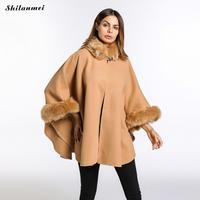 Winter Women Spliced Shawls Single Button Camel Coat Three Quarter Sleeve Loose Turn Down Collar Women