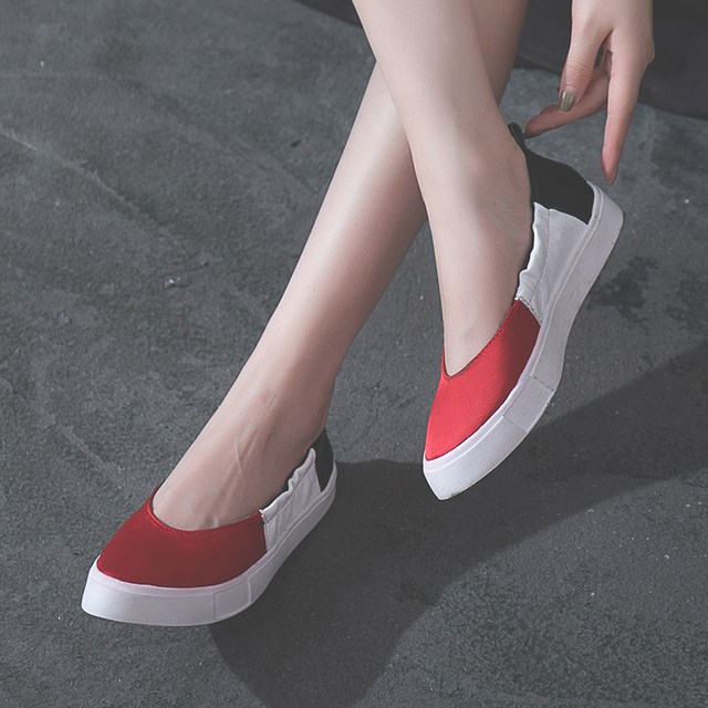 Kjstyrka Leisure Spring Autumn Slip On Flat Women Shoes Cute Ladies Platform  Shoes Mixed Color Pointed 978a2825a9ad
