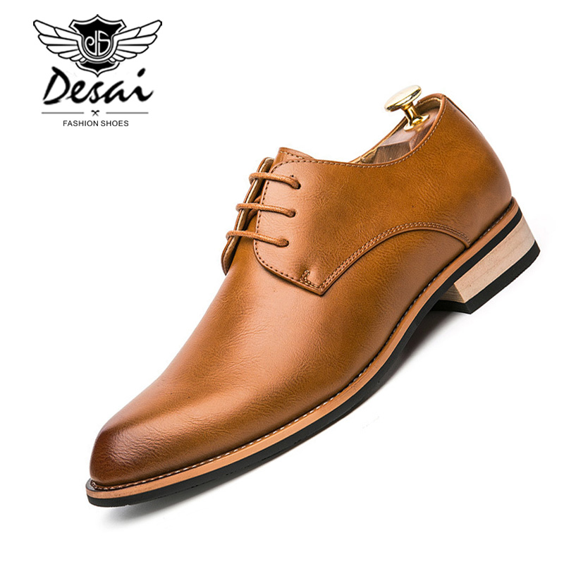 New Models Footwear Comfortable Fashion Genuine Leather Shoes Men Daily Business Casual Shoes Formal Lace-up Men Dress Shoes