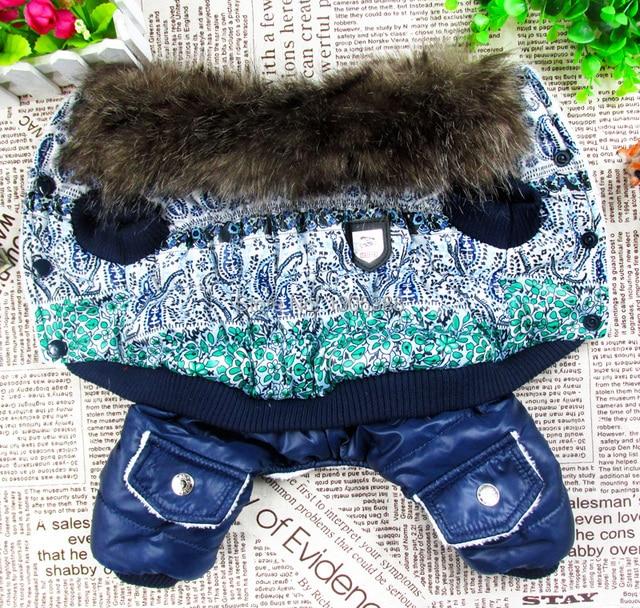 Blu e bianco bolla imbottito di pelliccia di lusso Stile Pet dogs Inverno Cappot