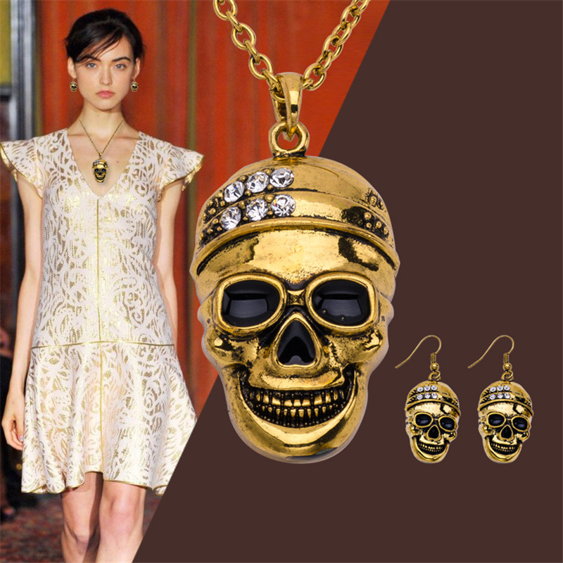 New Fashion Halloween Statement Accessories For Men Women Crystal Skull Necklace Pendenties Earrings Jewelry Sets Party Gifts