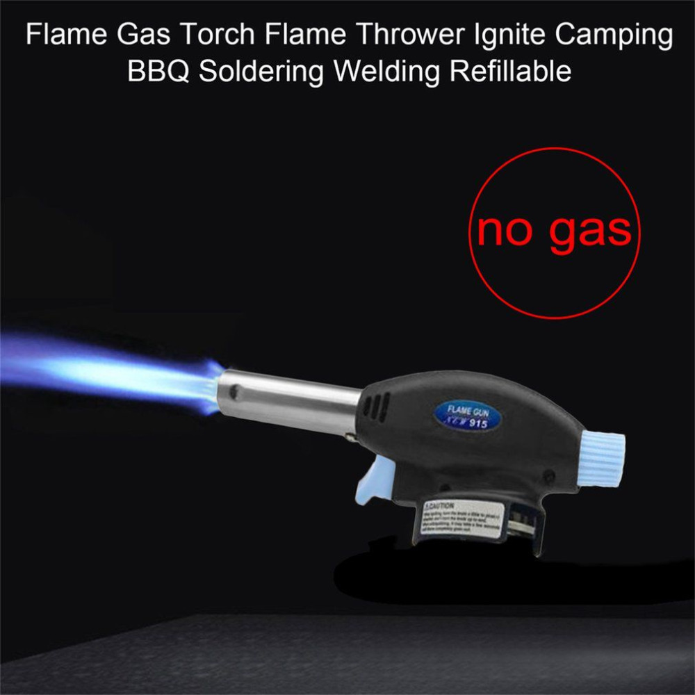 Flame Gas Torch Flame Thrower Gas Burner Gun Maker Torch Lighter Automatic Piezoelectricity Ignite BBQ Soldering Refillable Tool