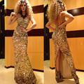 2017 Myriam Fares Celebrity Dresses Sheath Sweetheart Floor Length Gold Squins Slit Sparkle Long Red Carpet Dresses