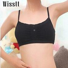 Wisstt Super cotton bra for Small Girl Soprts Padded Wire Free Bra vest design front button Lingerie Brassiere Teenage Underwear