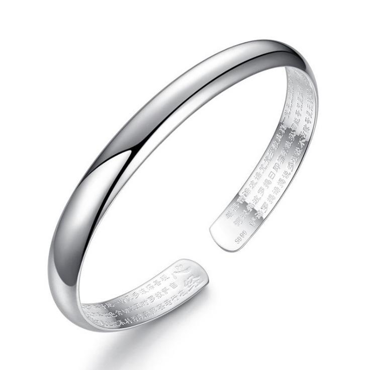 New Retro Religious Jewelry High Polished 925 Sterling Silver Bangles Vintage Craved Chinese Style Bangle For Women Girls AY427
