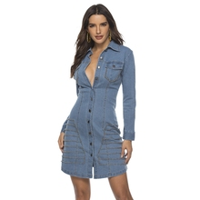 spring Long Sleeves Casual bodycon A-line Dress Women Denim Dress with Button V Neck rivet party Mini Dresses Pocket Jean Dress yellow round neck net yarn long sleeves bodycon mini dresses