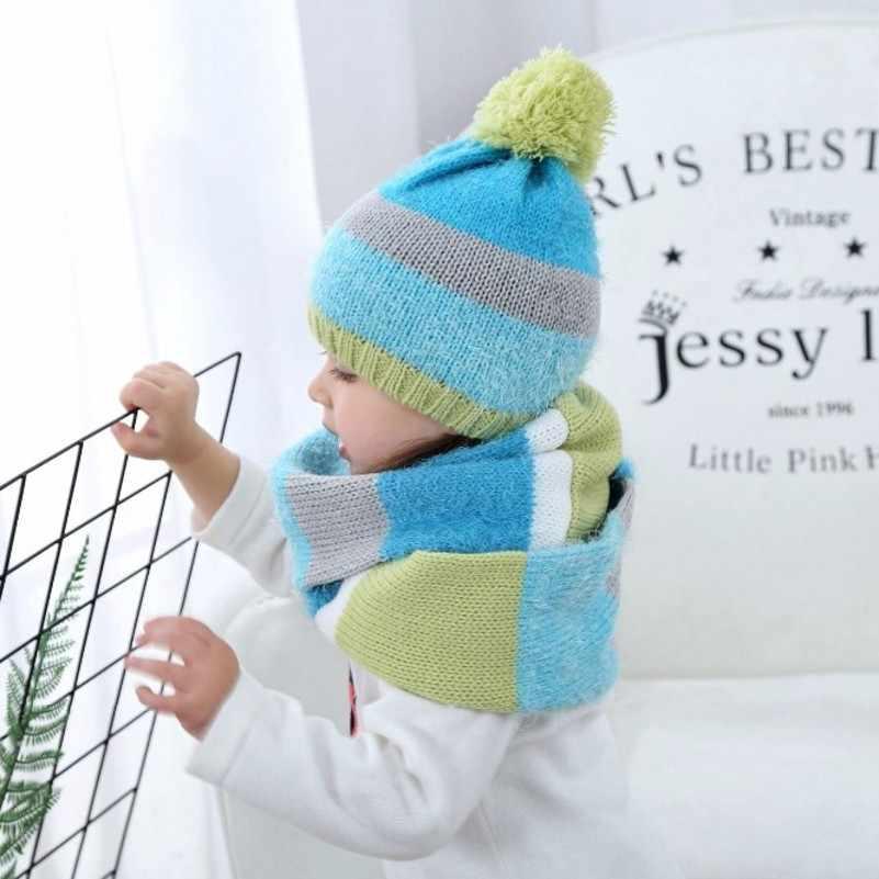a64ddedb9 Patchwork bebé sombrero del invierno para bebé niña niño con la bufanda de  punto de ganchillo