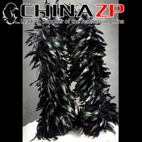 CHINAZP Feather New Design Unique Beautiful Dress Showing Dyed Black Half Bronze Coque Tail Feather Boa Wholesale Bulk