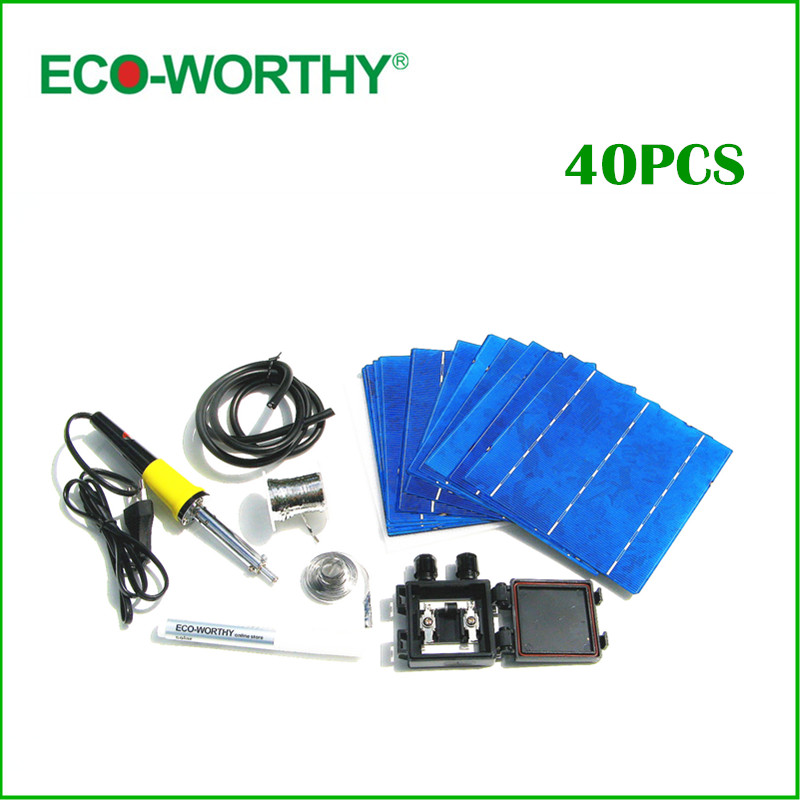 40pcs 6x6 Full Solar Cell Kits 156 Polycrystalline Solar Cells Tabbing Wire Bus Soldering Iron Flux Pen for DIY Solar Panel