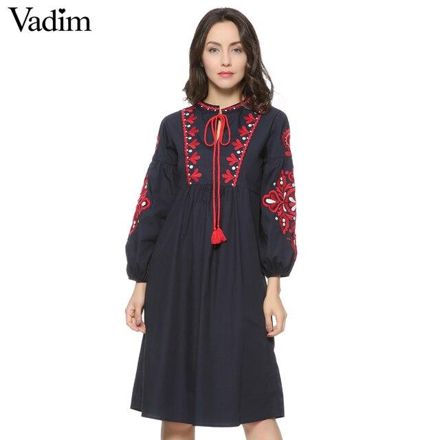 Mujeres vintage floral bordado dress tie lazo borlas de manga larga faldas vestidos de fiesta casual marca loose retro qz2611