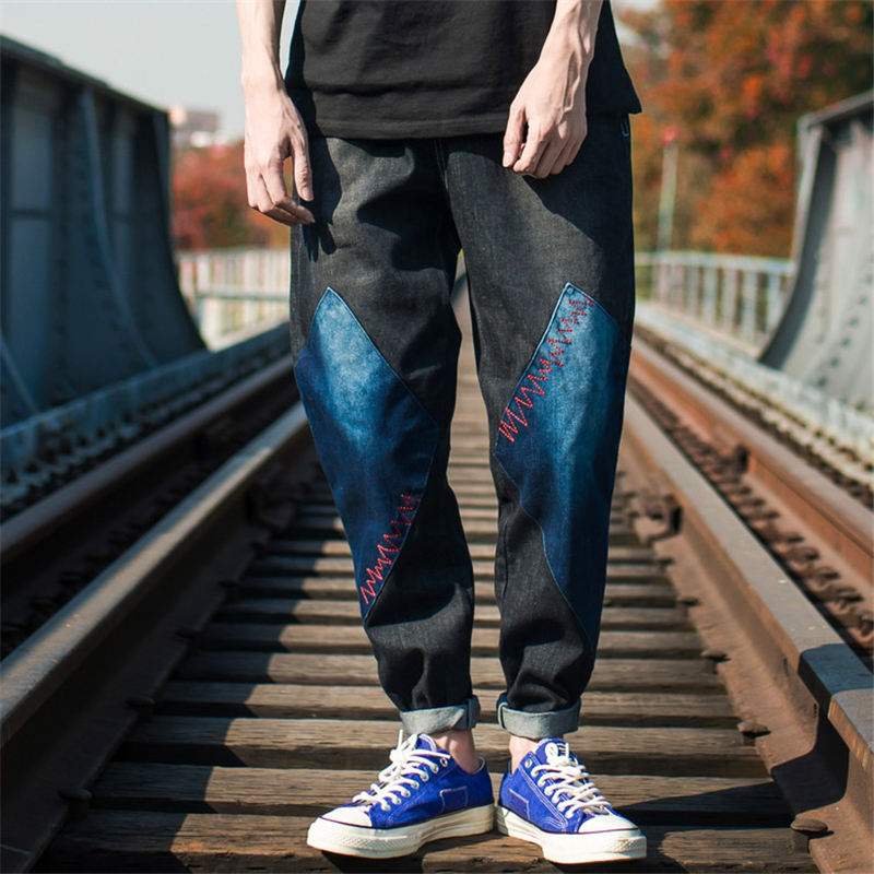 2018 Fashion Mens Joggers Jeans Harem Patchwork Washed Denim Pants Hip Hop Sportswear Elastic Waist Pants Blue Q0017