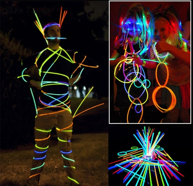200pcslot multi color glow stick light bracelets necklaces for party hot dance christmas decoration