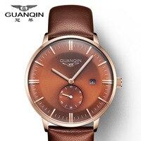 2017 nowa Luksusowa Retro Zegarek Top Marka GuanQin Zegarek Kwarcowy Mężczyźni Zegarki Wodoodporna Kalendarz Świecenia Mały giełda samochodowa mody