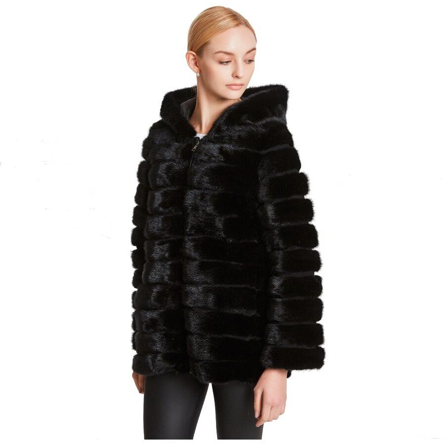Королева huanhou реального норки Мех животных пальто для женщин Стенд воротник, тонкий и теплый очень большой плюс размеры пальт