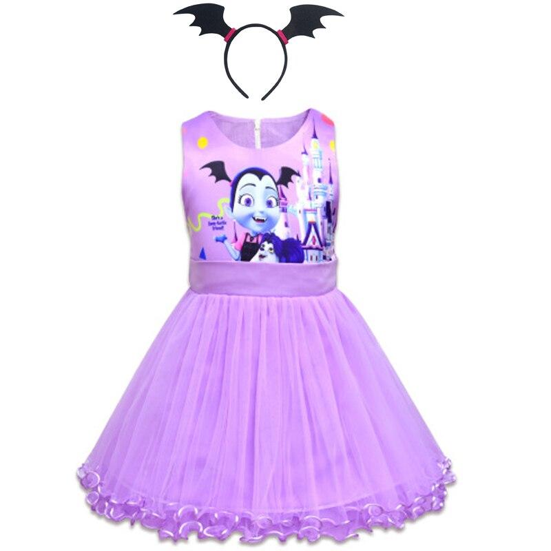 Children Vampirinas Unicorn Costume Princess Party Evening Dress Baby Girl Child Clothing Vestido Unicornio Headband in Dresses from Mother Kids