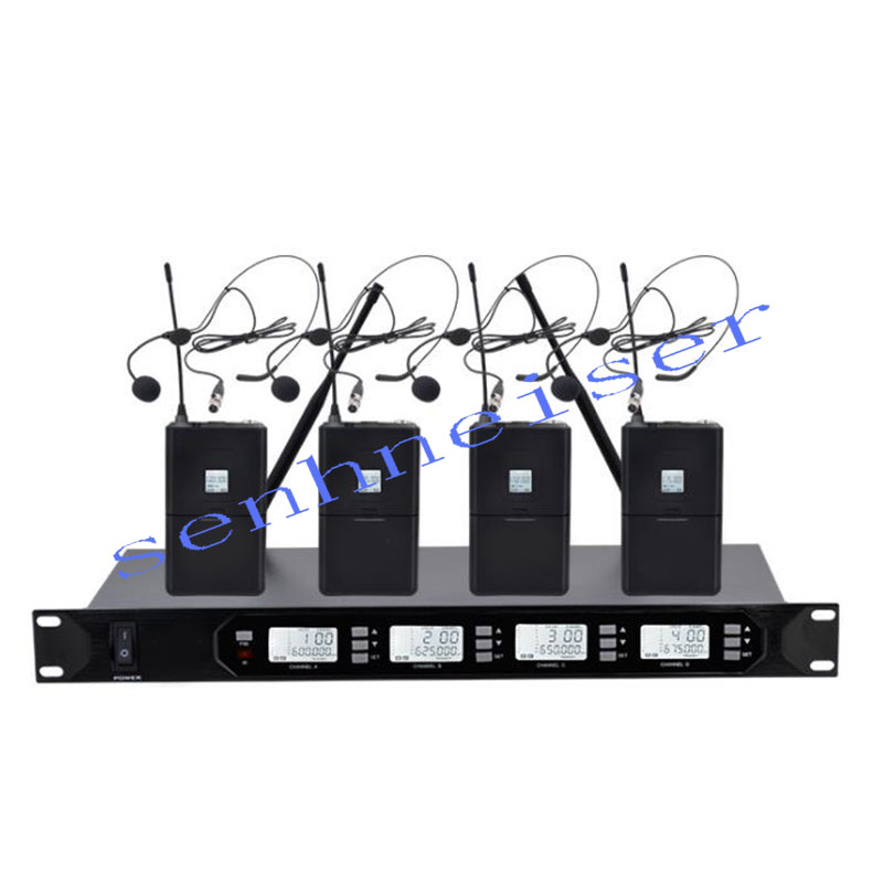 SENHNEISER Stage Performance Wireless Microphone System UHF Dual Channel Wireless Microphone Set with 4 Headsets Microphone
