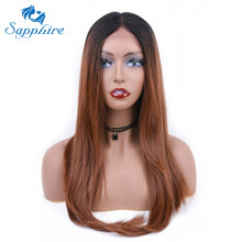 Sapphire Lace Wigs Middle Part Ombre 1B Brown Blended U Shape Lace Wigs For Women Lace Front Wigs Two Tone Ombre Hair Wigs(China)