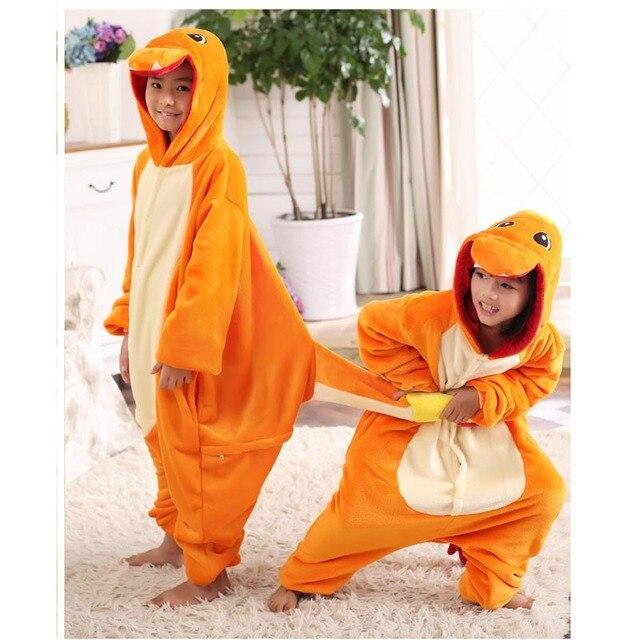 Crianças Inverno anime pokemon Charizard macacão Pijamas pijamas pijamas traje dragão de fogo Criança Unisex Onesie Partido crianças onesie