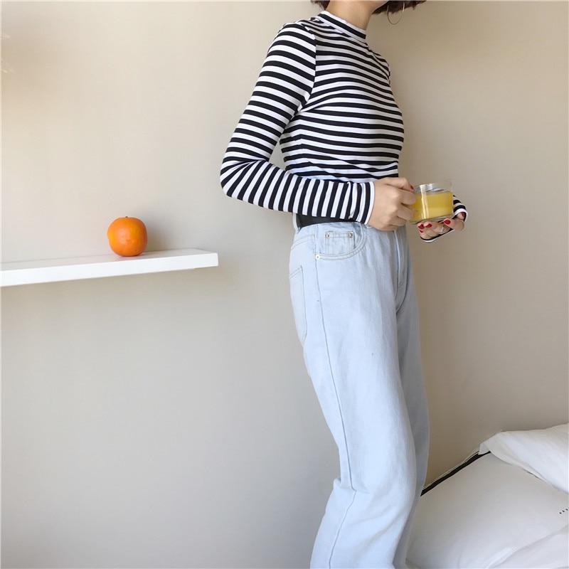 19 Korean Style Long Sleeve T Shirts Women New Hot Sale Student T-shirt Womens Fashion Harajuku Striped Female Slim Femme Lady 7