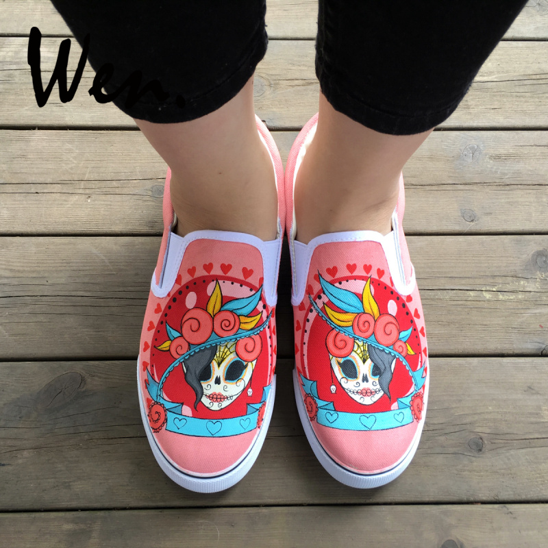 Fashion Sneakers Custom Unicorn Painted Womens Slip on Canvas Loafer Shoes