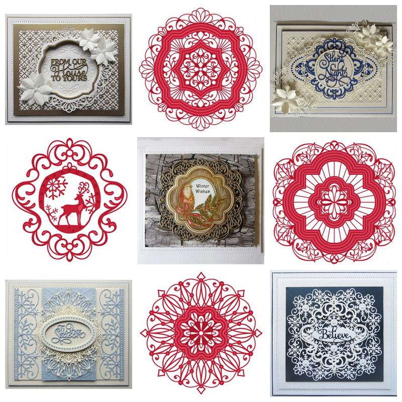Circle Square Frame Mixed Metal Cutting Dies Stencil For DIY Scrapbooking Decorative Embossing Handcraft Die Cutting Template