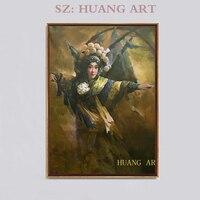 High quality Chinese drama oil painting modern Peking Opera drama portrait oil painting decoration hall children room hotel sofa